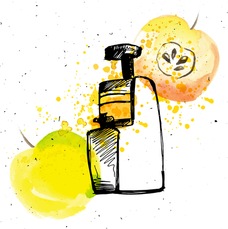 slow food: Juicer with apple. Apple juice with juicer and splashes, sketch hand draw illustration with watercolor elements Illustration