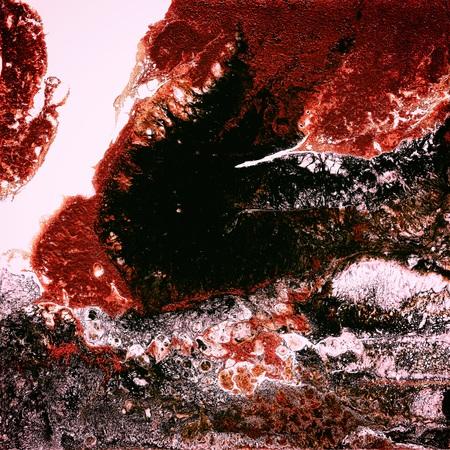 Vloeibare acrylverf, vloeibaar kunstwerk, abstracte kleurrijke achtergrond met gekleurde geverfde cellen, vlekken. Rode kleuren