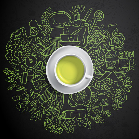 Realistic cup of green tea with circle doodles. Sketched green tea healthy elements, natural products and objects related to green tea, vector hand draw illustration.