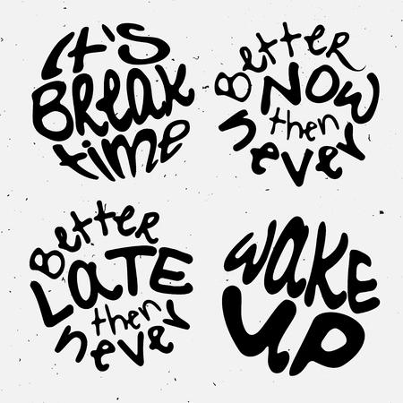 Tijd belettering. Motivatie citeert over tijd en om lijsten te maken. omcirkelen met letters over het juiste moment en schiet op. Stock Illustratie
