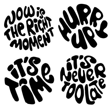Tijd belettering. Motivatie citeert over tijd en om lijsten te maken. omcirkelen met letters over het juiste moment en schiet op. Stockfoto