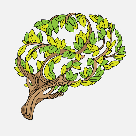 Healthy brain vector concept illustration. Tree and leaves in form of brain. Hand draw helthy conceptual brain illustration