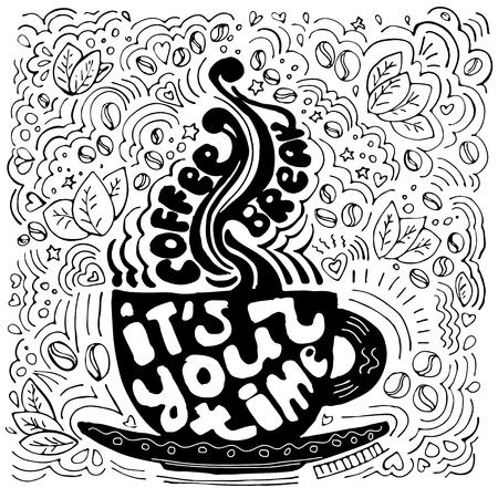 Koffiekopje belettering over pauzetijd en het nemen van pauze. Koffiekopje silhouet met letters, geïsoleerd op een witte achtergrond