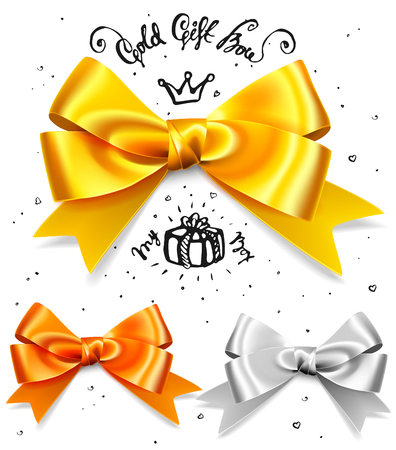 Set of gold, silver and bronze gift bows, satin isolated red glamour bow for birthday and christmas giftbox. Present design element Illustration