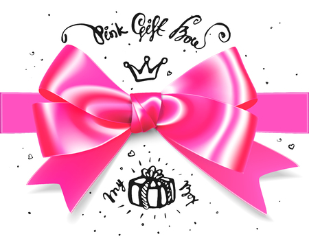 Gold pink glamour gift bow. Bow for little princess gift, babygirl. It s a girl bow illustration