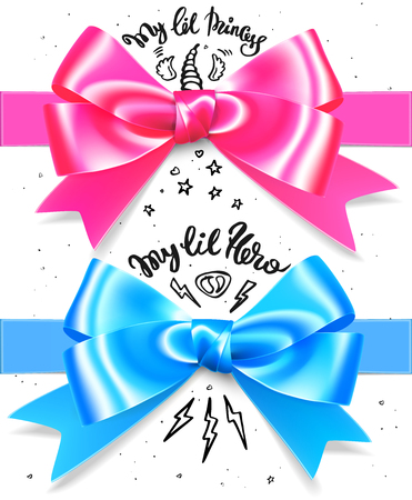 Babyboy and babygirl shiny gift bow. Blue and pink present bows with lettering and decoration