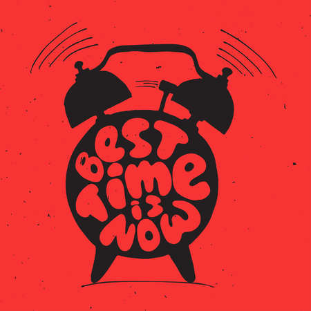 ringing alarm clock with light texture and lettering about best time is now. Time vector Concept illustration. Present moment concept letters with alarm.