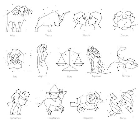 Horoscope, all Zodiac animals in constellation forms with line and stars. Collection of thirteen of black elements, stars and constellations set.