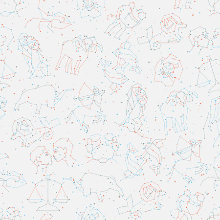 Horoscope seamless pattern, all Zodiac signs in constellation style with line and stars on white background. Endless background of starry zodiac symbols Фото со стока