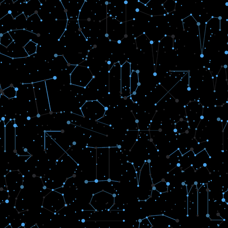 Horoscope seamless pattern, all Zodiac signs in constellation style with line and stars on black sky. Endless background of starry zodiac symbols, minimal light style Иллюстрация