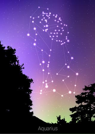 水星干支の星座は、森林の風景、銀河と後ろのスペースと美しい星空のシルエットでサインします。深い宇宙の背景にアクエリアス星占いシンボル