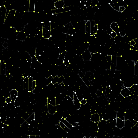 Horoscope seamless pattern, all Zodiac signs in constellation style with line and stars on black sky. Endless background of starry zodiac symbols, minimal light style 일러스트