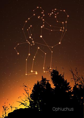 オフィーチュス干支の星座は、森林の風景、銀河と後ろのスペースと美しい星空のシルエットとサインします。深い宇宙の背景にオフィーチュス星占いシンボル星座。