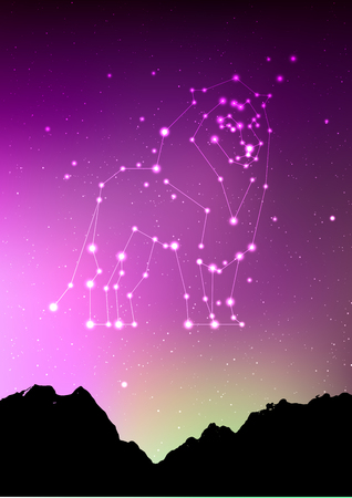 Leo constellations sign with forest landscape silhouette on beautiful starry sky with galaxy and space behind. Leo horoscope symbol constellation on deep cosmos background. Card design 矢量图像