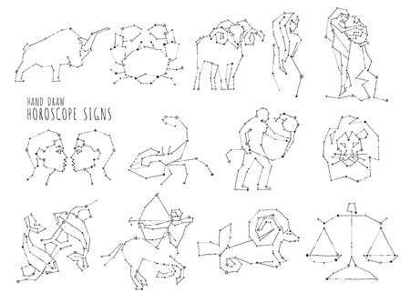 Hand draw horoscope symbols, all Zodiac signs in constellation style with line and stars on white background. Collection of zodiac symbols, thirteen stars constellations set.