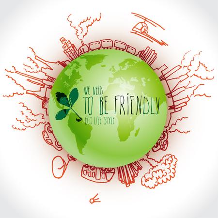 Planeta verde con garabatos de ecología de peligro. Bosquejó los elementos ecológicos con tierra y