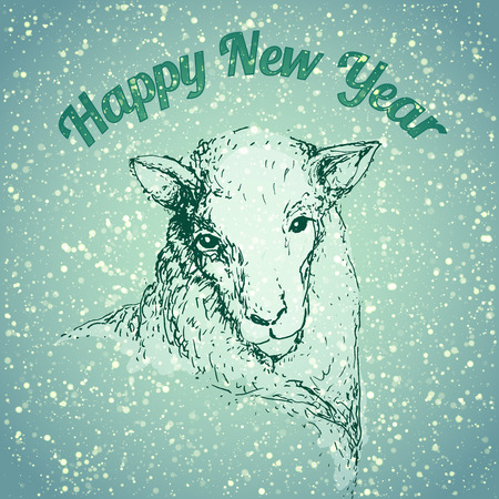 Happy New Year Sheep illustrarion with snowfall and blue background