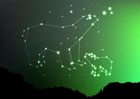 こぐま座と主要な森林風景に見た空の上。オーロラと光沢のある星座と北半球の星ズラしたおいてください。星マイナーおよびメジャーおおぐま座