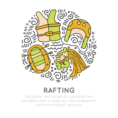 Rafting sketch illustration with rafting boat and people with oars. Vector icon set about rafting outdoor activities in circle form with decorations. Live vest, shelm, rafting boat and wave concept isolated on white background