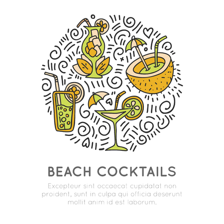 Tropical beach cocktails icon concept. Coconut coctail, sweet juice cocktail and martini glass in round form with decoration. Beach summer icon illustration Stock Illustratie