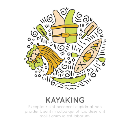 Vector summer kayaking icon set, hand draw style with decorations in round form. Doodling of kayak boat, top and front view, life vest, wave, kayak equipment. Vector sketch water illustration of Outdoor activities, concept illustration isolated