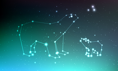 Ursa major and ursa minor constellation in night sky with lights, stars. Ursa in dark deep sky, line and shiny stars in one constellation on blue sky background Иллюстрация