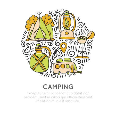 Camping vector hand draw concept, tent, lamp, caravaning rv icons in circle form with decorative elements. Sketched doodle travel and outroor camping adventure in woods and mountains