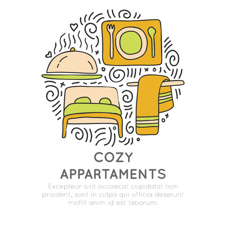 Cozy apartments hand draw cartoon vector icon concept. Bed, towel and food attributes about hotel and resorts in circle form with decorative elements. Hotel and resort icon collection.