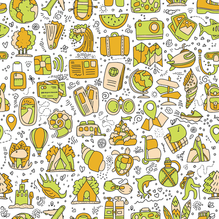 Travel and summer seamless pattern, journey and trip background. Adventure time pattern in hand draw style, vector sketch elements on repeatable pattern.