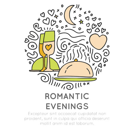 Romantic and wedding travel icons in hand draw style, isolated on white background. Love traveling icons with heart, champagne glasses, stars and moon elements with round decoration and heart, love travelling element