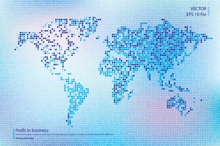 Dotted world map vector illustration. Business concept about world map global elements. Blue, magenta technology colors