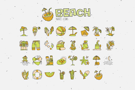 Summer tropical beach icon collection. Hand draw icons about travel to tropic beach and have vacation. Summer and beach attributes cocktails, coconut, sand and swimsuits, umbrellas.
