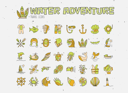 Water adventure vector hand draw icon set. Diving, rafting, kayaking and surfing icons in cartooning doodle style. Travelling adventure summer icon with sealife elements and animals Çizim