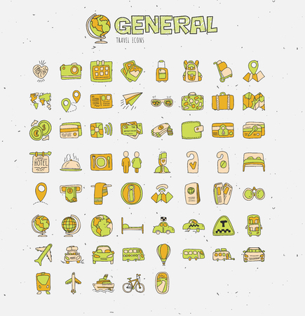 Travel hand draw icons. Icon lined cartoon collection about adventure, outdoor activivies, beach, summer, travelling, get a vacation. Traveling icon set about transport, hotels, resorts, money