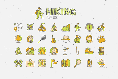 Trekking travelling icon collection, hiking hand draw cartoon icons. Camping and travel caravaning doodle illustration. Tent, compass, tracking, forest and other attributes about trek and hiking icons Stock Vector - 92849852