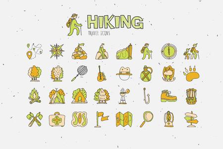 Trekking viajando coleção de ícone, caminhadas mão desenhar ícones dos desenhos animados. Acampamento e curso caravaning doodle ilustração. Barraca, bússola, rastreamento, floresta e outros atributos sobre ícones de caminhada e caminhada Foto de archivo - 92849852