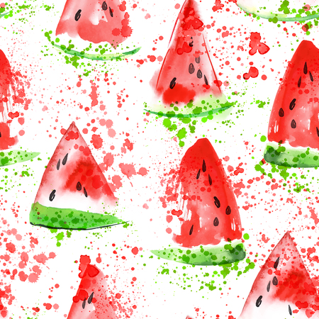 Watermelon slice seamless pattern with splashes. Summer watermelon background. Watercolor hand draw illustration. Vectores