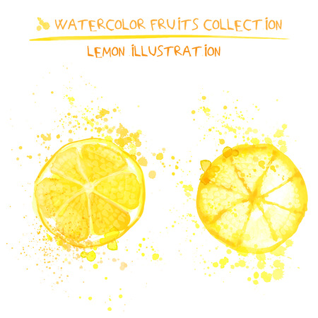 Seto of watercolor lemon vector illustration. Splashed hand draw lemons isolated on white background, art vector citrus objects. Lemonades