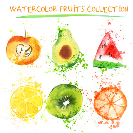 Set of Fresh fruit watercolor objects. Illustration