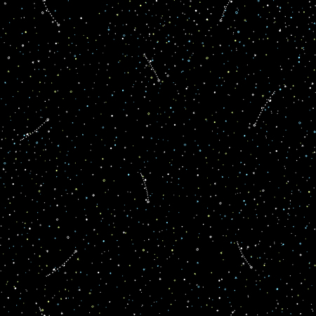 Starry sky hand draw seamless pattern, doodle rings and crosses in galaxy and stars style - endless background with falling stars. Galaxy background of starry night sky, space repeat seamless