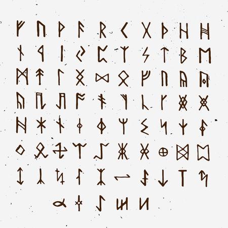 Conjunto de runas escandinavas nórdicas antiguas. Alfabeto rúnico, futhark. Antiguos símbolos ocultos, letras vikingas en blanco, fuente de runas. Ilustración de vector con textura ligera. Antigua carta nórdica aislada sobre fondo blanco