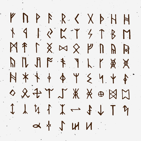 Set of Old Norse Scandinavian runes. Runic alphabet, futhark. Ancient occult symbols, vikings letters on white, rune font. Vector illustration with light texture. Ancient norse letter isolated on white background Vettoriali