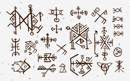 Futhark norse islandês e viking runas definido. Mão mágica desenhar símbolos como talismãs com script. Conjunto de vetores de runas antigas da Islândia. Galdrastafir, sinais místicos da magia do início do Norte. Étnica norse viking tatuagem desenho.