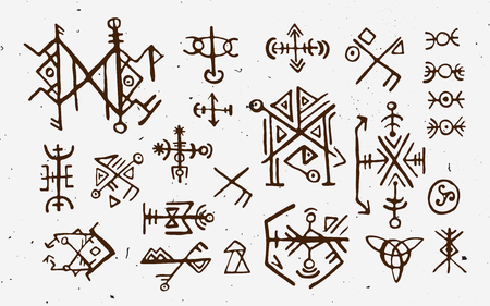 Futhark norse islandic and viking runes set. Magic hand draw symbols as scripted talismans. Vector set of ancient runes of Iceland. Galdrastafir, mystic signs of early North magic. Ethnic norse viking tattoo design.