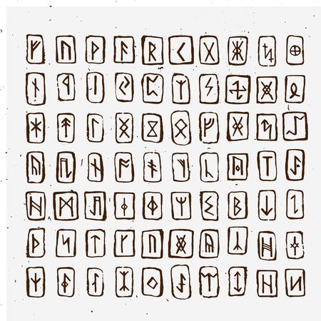 Alphabet Viking set of old norse scandinavian runes. runic alphabet, futhark