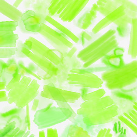 Watercolor splashed abstract spring geometrical background. Spring background in light green and blue colors with hand draw splashes, lines and textures. Bright spring geometry pattern