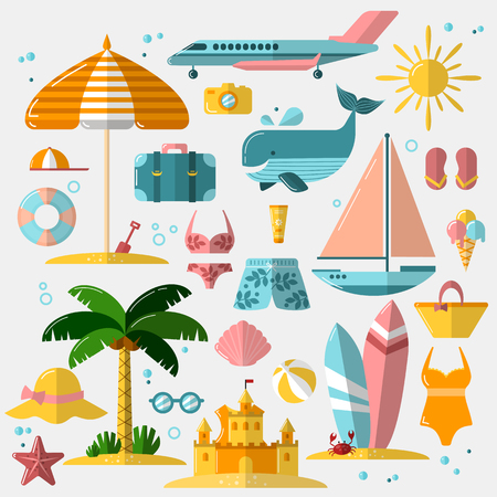 Summer holiday, tourism and vacation flat icons. Vector illustration of summer vacation accessories, flat icon set. Beach, travel and vacation objects for web design. Illustration