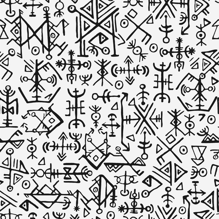 Futhark nórdico islandés y vikingo símbolo de patrones sin fisuras. Mano mágica dibujar símbolos como fondo repetible talismanes con guión. Antigua Islandia perfecta. Diseño de patrón vikingo nórdico étnico sobre fondo gris