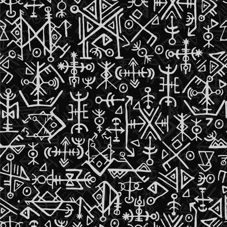 Futhark norse islandic and viking symbol seamless pattern. Magic hand draw symbols as scripted talismans repeatable background. ancient Iceland seamless. Ethnic norse viking pattern design on black background