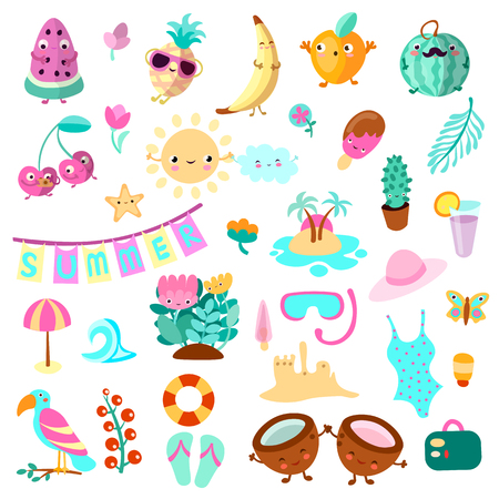 Set of summer and vacation elements. Cute cartoon vector illustration about summer holidays and vacations, summer time and relax. Collection of cartooning summer objects for vacation advertising